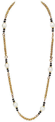 One Kings Lane Vintage Chanel Pearl & Onyx Sautoir Necklace
