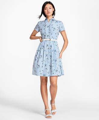 Brooks Brothers Floral-Print Striped Cotton Poplin Shirt Dress