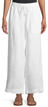Eileen Fisher Organic Linen Drawstring-Waist Wide-Leg Pants, Petite