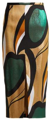 Rochas Abstract Jacquard Pencil Skirt - Womens - Gold Multi
