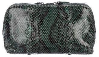Bottega Veneta Intrecciato-Trimmed Snakeskin Cosmetic Case