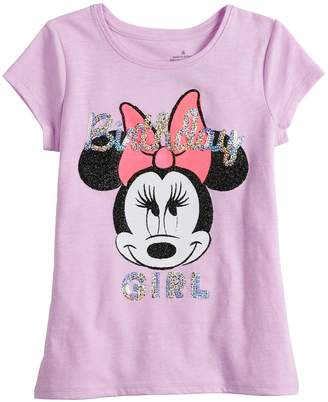 """Disneyjumping Beans Disney's Minnie Mouse Girls 4-10 """"Birthday Girl"""" Sequin Graphic Tee by Jumping Beans"""