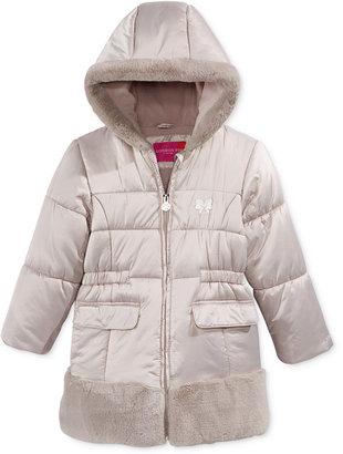London Fog Satin & Faux-Fur Hooded Puffer Jacket, Little Girls (2-6X) $100 thestylecure.com