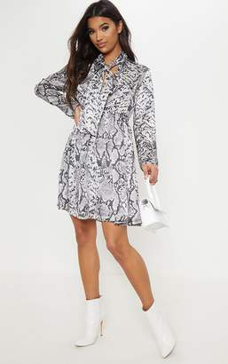 PrettyLittleThing Grey Snake Print Neck Tie Button Front Midi Smock Dress