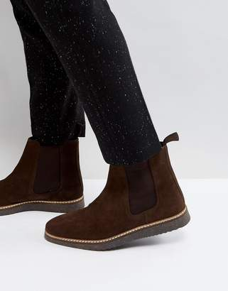 Asos Design Chelsea Boots In Brown Suede With Black Wedge Sole