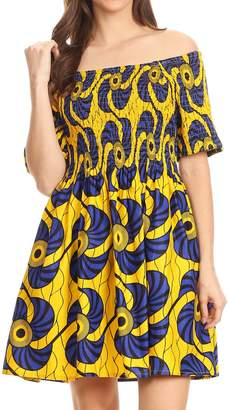 Sakkas 2160 - IFE Wax African Ankara Colorful Cocktail Short Dress Off-Shoulder w/Pockets - OS