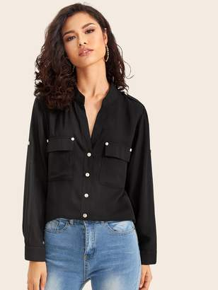 Shein Button Front Pocket Front Solid Blouse
