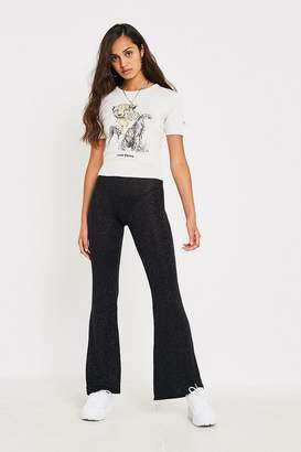 Urban Outfitters Black Sparkly Metallic Flare Pant