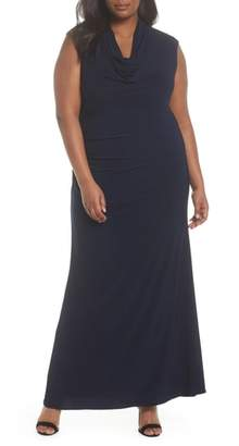 Adrianna Papell Cowl Neck Jersey Gown