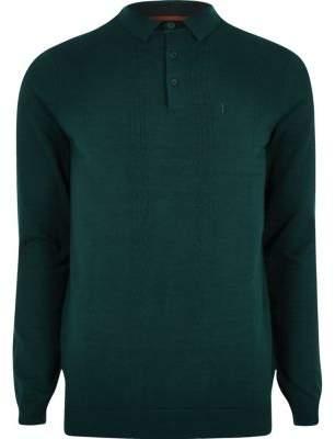 River Island Teal green slim fit long sleeve polo shirt