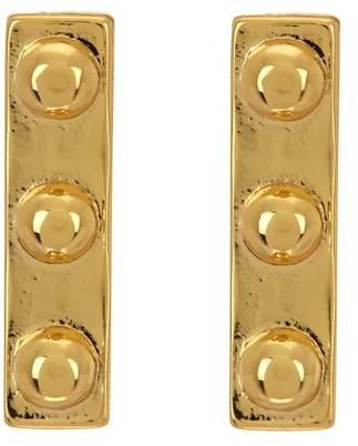Argentovivo 18K Gold Plated Sterling Silver Studded Bar Earrings