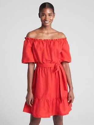 Gap Off-Shoulder Tiered Ruffle Dress in Linen-Cotton