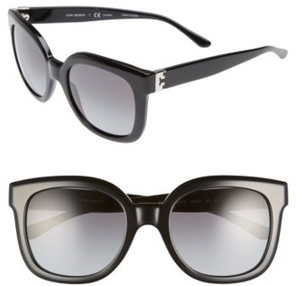 Women's Tory Burch Modern-T 54Mm Gradient Cat Eye Sunglasses - Black/ Polar $215 thestylecure.com