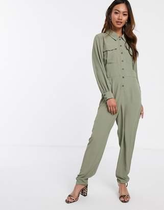 Asos Design DESIGN long sleeve military shirt jumpsuit