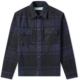 Off-White Off White Stencil Diagonals Checked Flannel Shirt