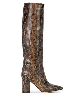 Paris Texas Faux Python Knee High Heeled Boots