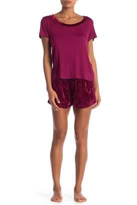 Tahari Velvet Dreams Night Shirt & Shorts PJ Set