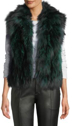 Adrienne Landau Silver-Fox Fur Vest, Emerald