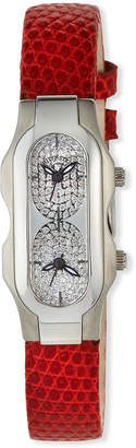 Philip Stein Teslar Mini Duel Time Zone Diamond Pave Watch Orange Lizard