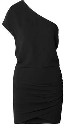 IRO Davov One-shoulder Ruched Crepe Mini Dress - Black