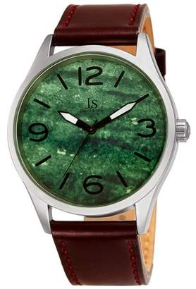 Joshua & Sons Silver Tone Casual Quartz Watch With Leather Strap [JX144GN]