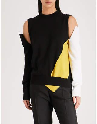 Calvin Klein Cold-shoulder wool and cashmere-blend jumper