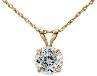 Diamonique 100 Facet 1 ct tw Pendant w/Chain, 1 4K Gold