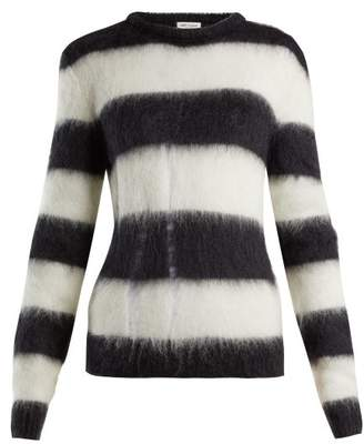 Saint Laurent Striped Mohair Blend Sweater - Womens - Black White