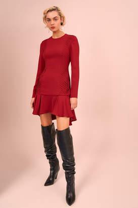 C/Meo COLLECTIVE VISCERAL LONG SLEEVE MINI DRESS berry
