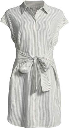 Neiman Marcus Pinstriped Linen Tie-Front Dress