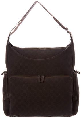 Gucci Black Gg Denim & Leather Shoulder Bag