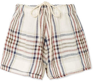 Bassike Checked Linen-canvas Shorts - White