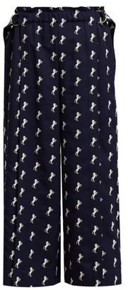 Chloé Little Horses Embroidered Cropped Wool Trousers - Womens - Navy White