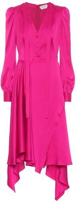 Alexander McQueen Asymmetrical silk-satin dress
