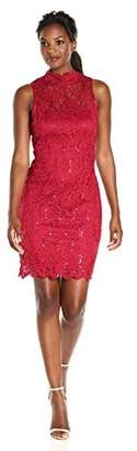 Tiana B Women's Sequin Scallop Lace Mock Nk Sheath