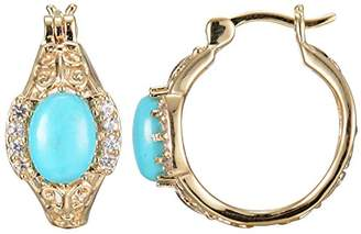 18k yellow Gold Plated Sterling Silver Oval Chinese Turquoise 8x6x3mm and Created White Sapphire Hoop Earrings