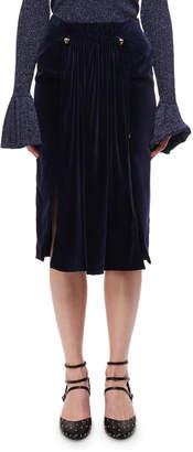Carven Pleated Velvet Midi Skirt W/ Studs, Navy