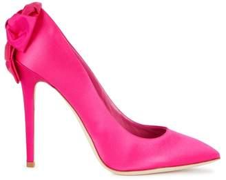 Olgana Paris Pink Satin Bow Pumps