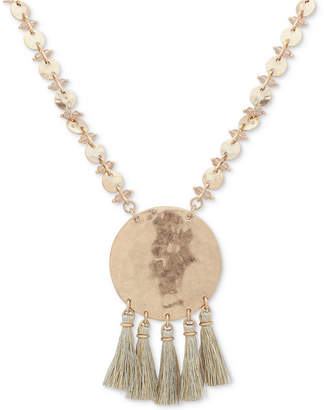 "lonna & lilly Gold-Tone Beaded Disc & Tassel Pendant Necklace, 32"" + 3"" extender"