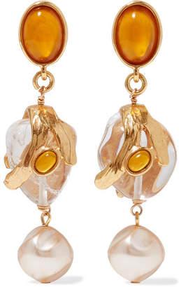 Oscar de la Renta Gold-tone Multi-stone Clip Earrings