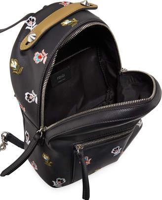 Fendi Zaino Mini Floral-Embroidered Backpack
