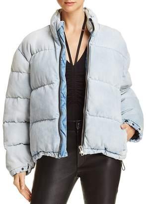 Alexander Wang Bleached Denim Puffer Jacket