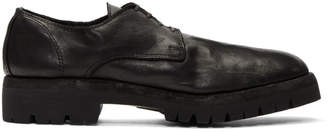 Guidi Black Leather Rubber Sole Derbys