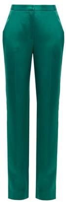 Carolina Herrera High Rise Straight Leg Satin Trousers - Womens - Green