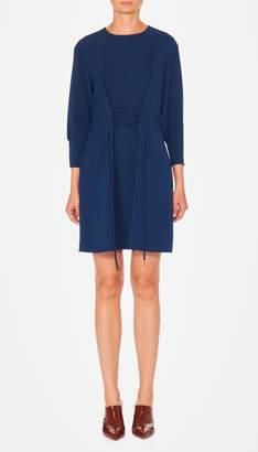 Tibi Drape Twill Lace Up Corset Short Dress