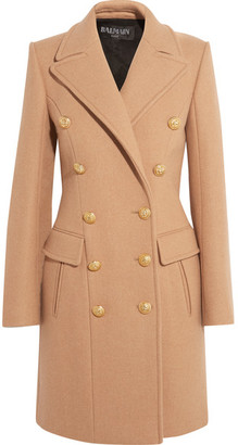 Balmain - Double-breasted Wool And Cashmere-blend Coat - Camel $4,690 thestylecure.com