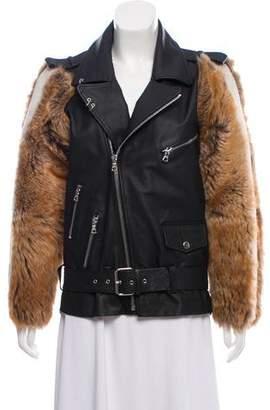 Moto Sandy Liang Fur-Trimmed Leather Jacket