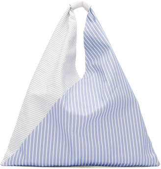 MM6 MAISON MARGIELA Blue and White Striped Canvas Tote