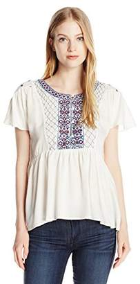 Volcom Junior's Money Tree Peasant Fit Embroidered Top