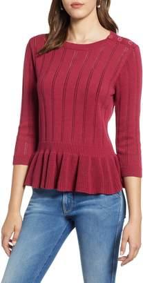 Halogen Cotton Pointelle Peplum Sweater